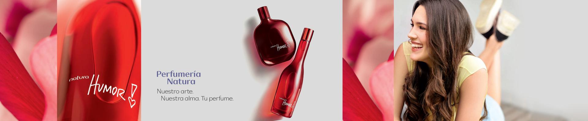 Dos perfumes Humor y Mujer recostada mirando de perfil