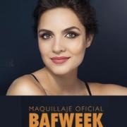 rostro de mujer maquillada y leyenda Maquillaje oficial Bafweek