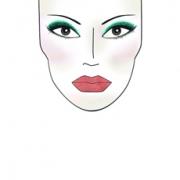 Dibujo de cara maquillada para mostrar zonas donde aplicar el color