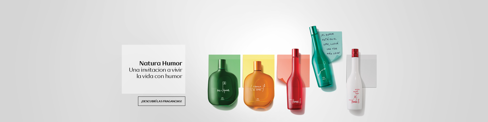 Perfumes Humor junto a nota escrita