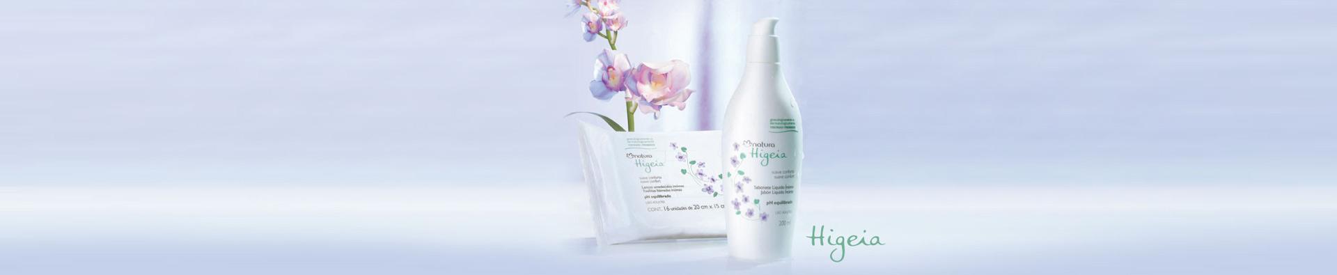 Productos higeia y flores presentados sobre base recta.